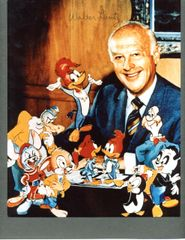 ANIMATOR WALTER LANTZ SIGNED COLOR 8 X 10 WITH WOODY WOODPECKER