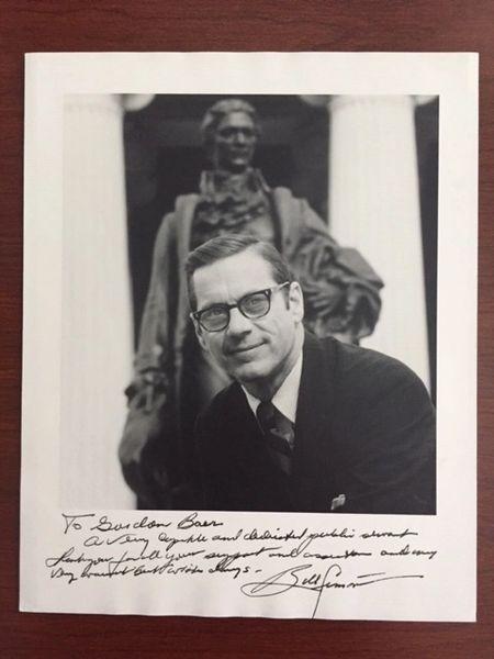 WILLIAM E. SIMON SIGNED PHOTO, SEC. OF TREASURY, OLYMPICS, PHILANTHROPY, LEVERAGED BUYOUT