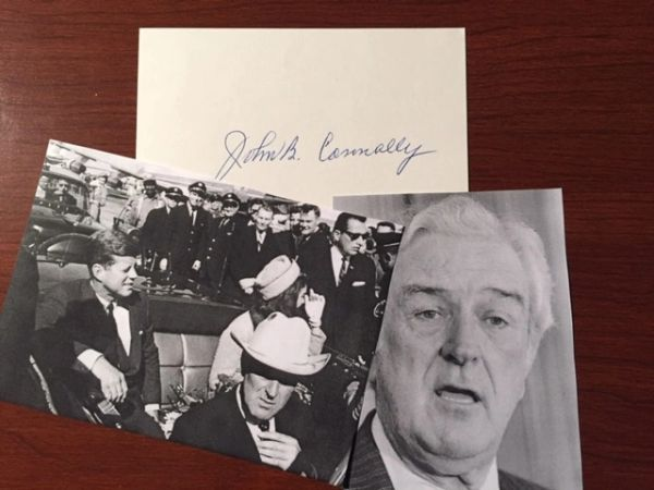 JOHN B. CONNALLY SIGNED CARD, SHOT IN KENNEDY ASSASSINATION, TX GOV.