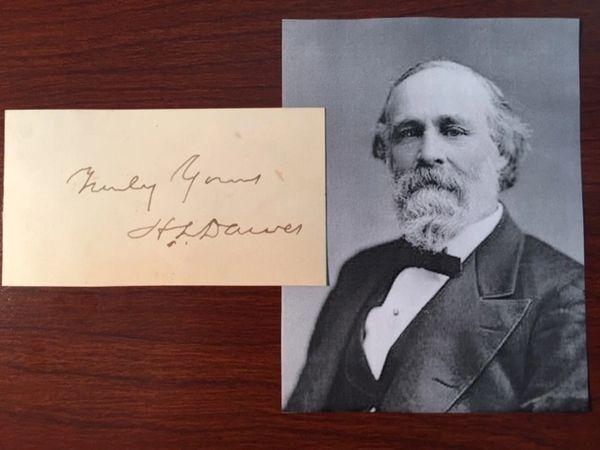 HENRY L. DAWES SIGNED CARD, SENATOR, INDIAN AFFAIRS, YELLOWSTONE PARK