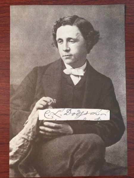 CHARLES L. DODGSON SIGNED SLIP, AUTHOR ALICE IN WONDERLAND, LEWIS CARROLL