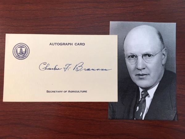 CHARLES F. BRANNAN SIGNED CARD, TRUMAN SEC. OF AGRICULTURE, ATTORNEY