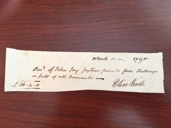 FOUNDING FATHER JOHN JAY DOCUMENT SIGNED, 1ST CHIEF JUSTICE, GOV. NY