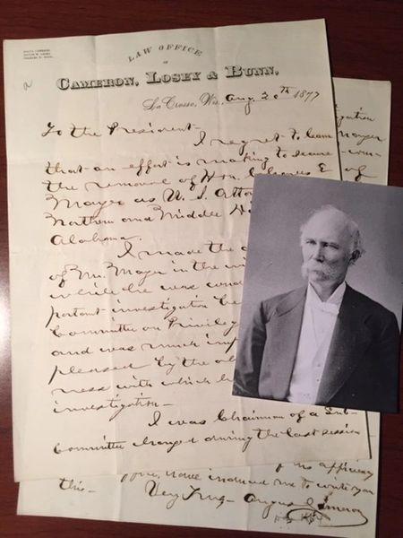 ANGUS CAMERON SIGNED LETTER, COMPROMISE OF 1877, BLACK CIVIL RIGHTS
