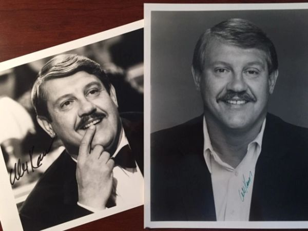 2 ALEX KARRAS SIGNED PHOTOS, SPORTSCASTER, BLAZING SADDLES, DETROIT LIONS