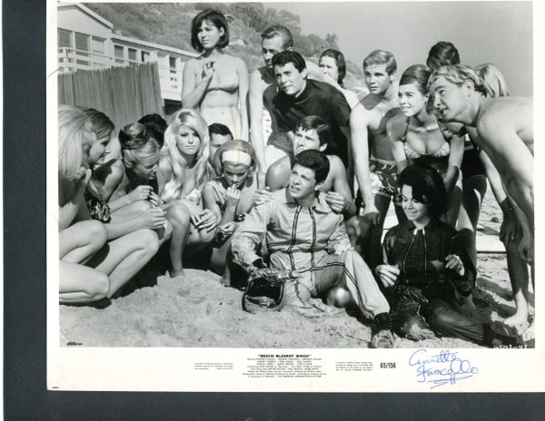 ANNETTE FUNICELLO SIGNED BEACH BLANKET BINGO VINTAGE, 10 X 8, 1965 AMERICAN INTERNATIONAL CAST PRESS PHOTO
