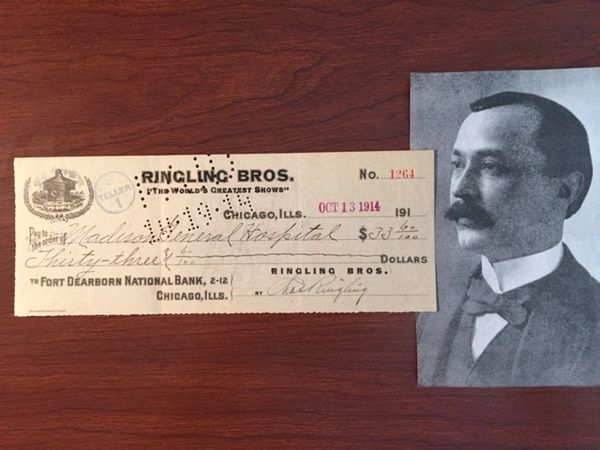 CHARLES RINGLING SIGNED RINGLING BROTHERS CIRCUS CHECK OCT 1914