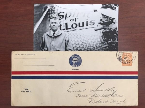 CHARLES A. LINDBERGH AIR MAIL ENVELOPE FLOWN BY HIM SPIRIT OF ST. LOUIS