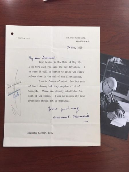 WINSTON CHURCHILL LETTER SIGNED ON A HISTORY OF THE ENGLISH SPEAKING PEOPLES
