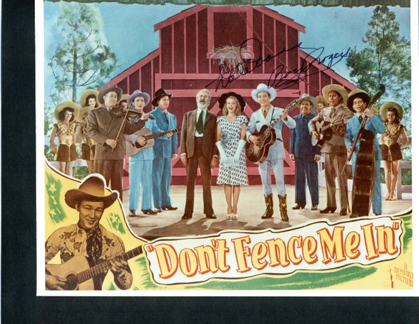 ROY ROGERS AND DALE EVANS SIGNED VINTAGE PHOTO FOR DON'T FENCE ME IN