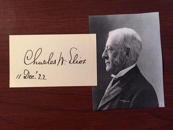 CHARLES W. ELIOT SIGNATURE OF EDUCATOR AND 40 YEAR HARVARD PRESIDENT
