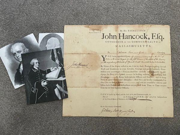JOHN HANCOCK SIGNED DOCUMENT 1787, GEN. DAVID COBB, JOHN AVERY, JR.