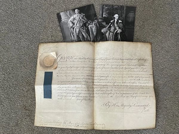 GEORGE III & EARL OF BUTE SIGNED MILITARY APPOINTMENT LUCIUS F. CARY