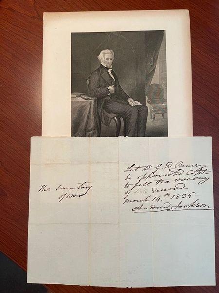 ANDREW JACKSON HANDWRITTEN NOTE SIGNED TO SECRETARY OF WAR