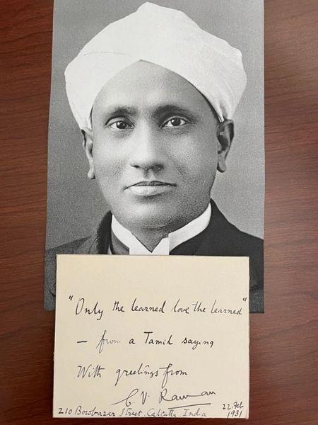 CHANDRASEKHARA V. RAMAN TAMIL QUOTE SIGNED, 1930 NOBEL PRIZE LIGHT SCATTERING