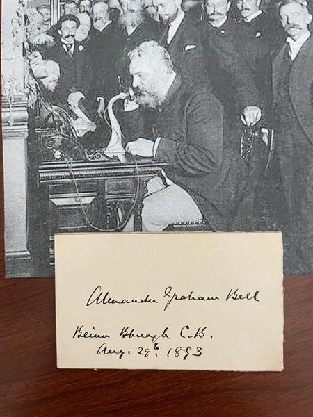 ALEXANDER GRAHAM BELL SIGNED CARD, INVENTOR, SCIENTIST, TELEPHONE
