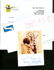 DESMOND TUTU SIGNED COLOR PHOTO OF HIM PERFORMING RELIGIOUS SERVICE