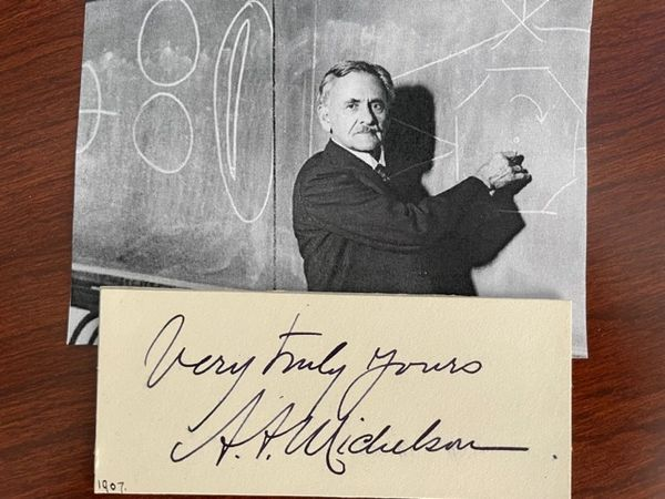 ALBERT ABRAHAM MICHELSON SIGNED CARD, PHYSICIST, SPEED OF LIGHT, RELATIVITY THEORY