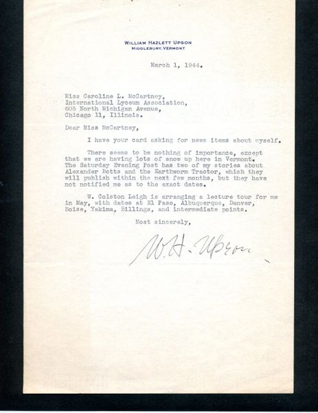 WILLIAM HAZLETT UPSON TYPED LETTER SIGNED OF AUTHOR OF THE ALEXANDER BOTTS EARTHWORM TRACTOR STORIES