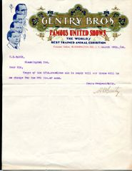 CIRCUS, GENTRY BROS, TYPED SIGNED LETTER H B GENTRY