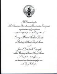 DAN QUAYLE SIGNATURE AND 1989 INAUGURAL INVITATION OF 44TH U.S. VICE-PRESIDENT