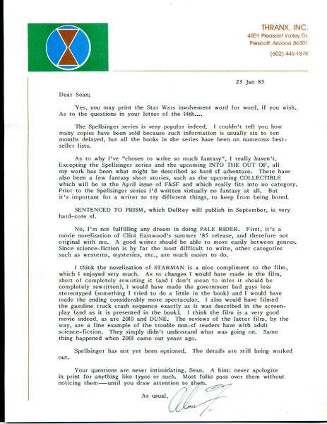 STAR WARS, STAR TREK, ALIENS AUTHOR ALAN DEAN FOSTER TYPED LETTER SIGNED  WITH GREAT CONTENT ABOUT STAR WARS & HIS BOOKS, PROJECTS AND WRITING