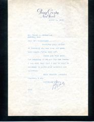 BING CROSBY TYPED LETTER SIGNED THANKING FAN FOR A CHARM
