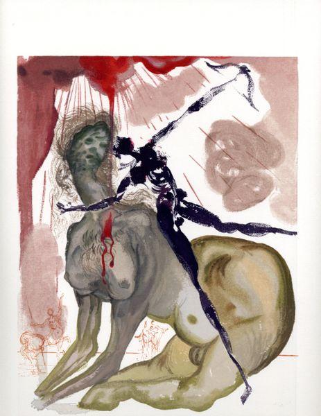 "SALVADOR DALI ORIGINAL LIMITED EDITION WOODBLOCK PRIN T, ""INFERNO 12"", C.1965, 10 X 13"