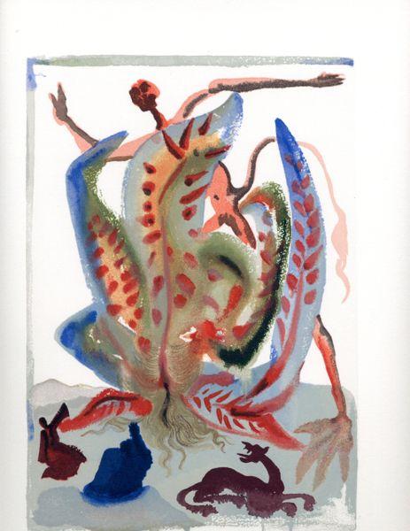 "SALVADOR DALI ORIGINAL LIMITED EDITION WOODBLOCK PRINT, ""PURGATORY 23"", C.1965, 10 X 13"