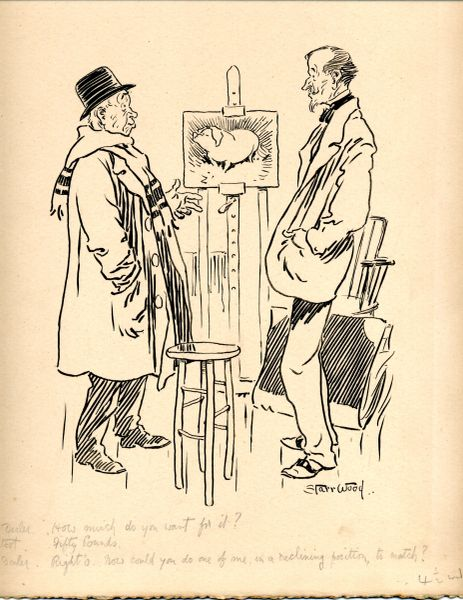 STARR WOOD (1870-1944) SIGNED ORIGINAL PENCIL, PEN, BLACK INK PUNCH MAGAZINE ARTIST AND BUSINESSMAN CARTOON BY 19TH-EARLY 20TH CENTURY BRITISH PUNCH CARTOONIST