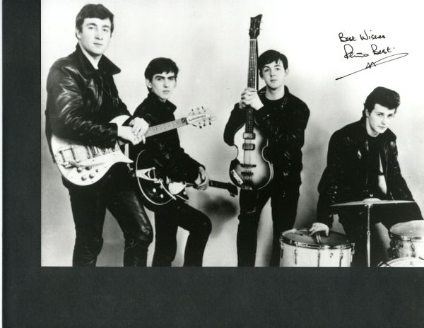 BEATLES: PETE BEST SIGNED 10 X 8 BEATLES PHOTOGRAPH