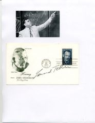 EDWARD TELLER SIGNED FIRST DAY COVER BY THE FATHER OF THE HYDROGEN BOMB