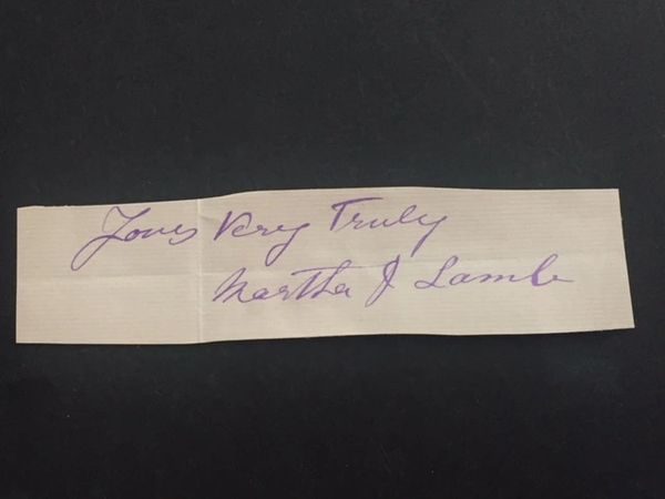 MARTHA J. LAMB SIGNED SLIP HISTORY OF NEW YORK: THE ORIGIN, MAG OF AM. HISTORY
