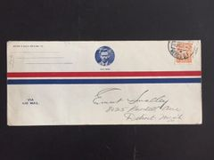 CHARLES A. LINDBERGH ORIGINAL AIR MAIL ENVELOPE FLOWN BY HIM ON THE SPIRIT OF ST. LOUIS, ON HIS FAMOUS SOUTH AMERICAN TOUR IN 1927, POSTMARKED IN MEXICO WHERE HE MET HIS FUTURE WIFE ANNE MORROW LINDBERGH
