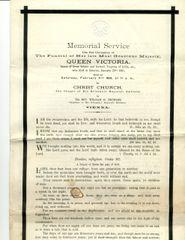 QUEEN VICTORIA ORIGINAL MEMORIAL SERVICE PROGRAM AT HER FUNERAL 1901