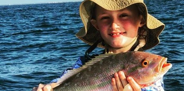 Florida Keys family fishing for yellowtail snapper