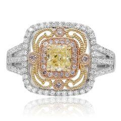 Intricate Tri-Colored Diamond Ring