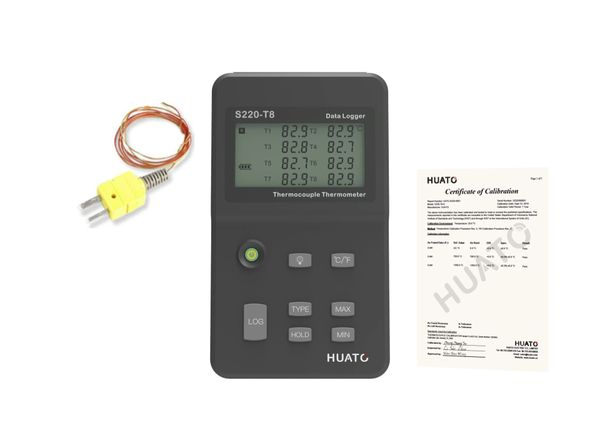HUATO S220-T8 Eight Channel Thermocouple Data Logger with 1pc Mini K Type Thermocouple and 3 Points NIST Certificate Report