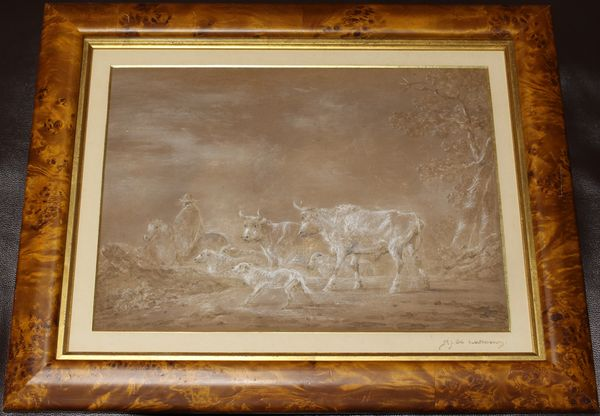 Cattle & Herder Scene, Pastel on Paper, Philip James De Loutherbourg