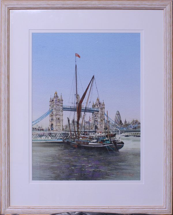 Thames Barge & Tower Bridge, 2008 Watercolour, Ben Manchipp