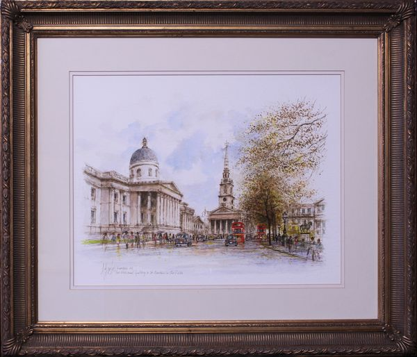 National Gallery & St Martins in the Fields, Watercolour, Alex Jawdokimov