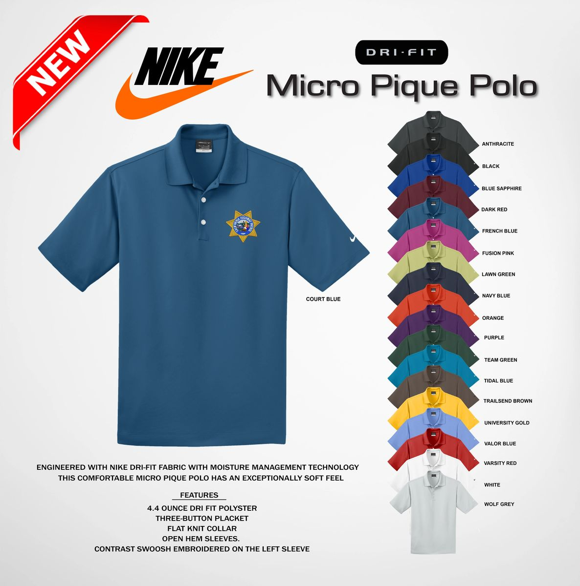 nike polo court blue