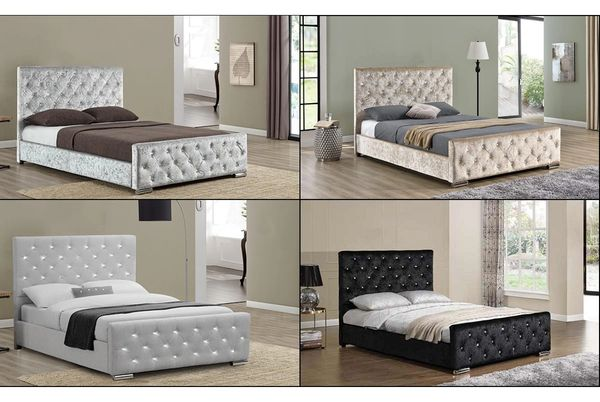 Beaumont Crushed Velvet or Grey Fabric Bed Frame -, Silver, Gold- Double / King Size