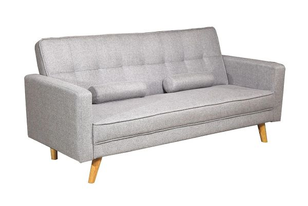 Boston 3 Seater Fabric Sofa Bed- Light Grey or Charcoal