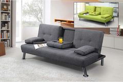 New York 3 Seater Fabric Sofa Bed With Drinks Table- Green or Grey