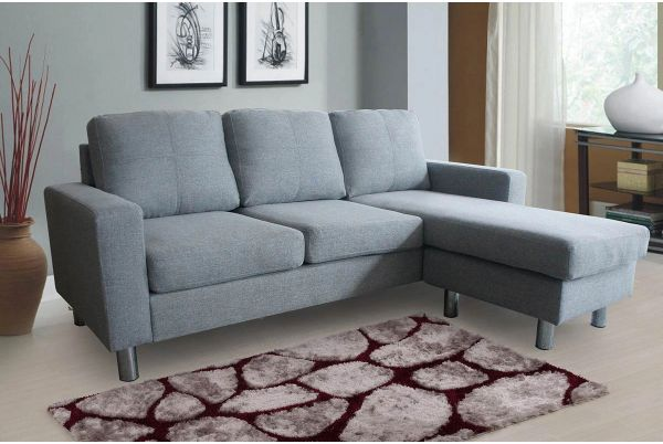 Relax L Shaped Corner Sofa Grey Fabric Upholstered | carpets ...