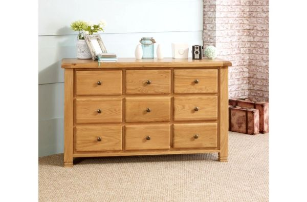 Woodstock 9 Drawer Chest oak or grey