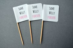 SAME WILLY FOREVER CUPCAKE TOPPERS/FLAGS