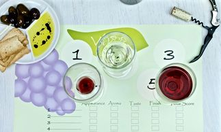 green and purple wine tasting place mat
