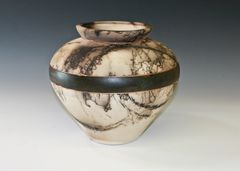 Horse Hair Fired Traditional Banded Vase